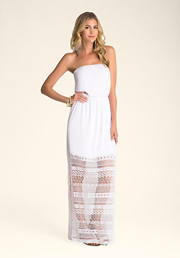 bebe Lace Contrast Maxi Dress