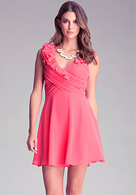 Fit & Flare Ruffle Dress at bebe