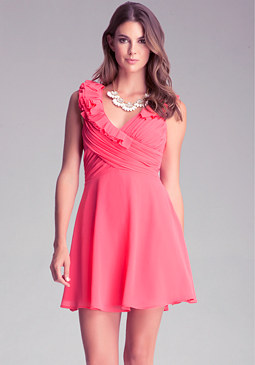 bebe Fit + Flare Ruffle Dress