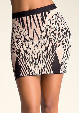 bebe Jacquard Pencil Skirt