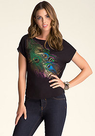 Peacock Feather Boxy T at bebe