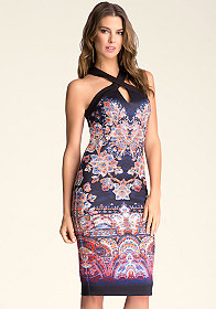 bebe Contrast Cross Front Dress