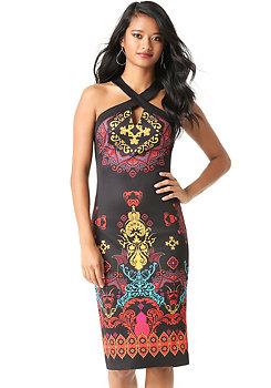 bebe Contrast Cross Front Dress