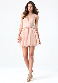 bebe Flare Puff Skirt Dress