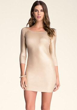 bebe Boatneck Foil Dress