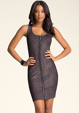 bebe Front Zip Foiled Dress