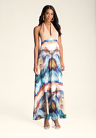 Halter Print Maxi Dress at bebe