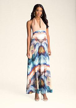 Halter Print Maxi Dress at bebe
