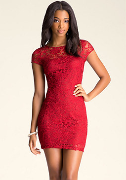 bebe Backless Lace Dress