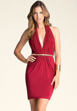 bebe Deep V Halter Dress