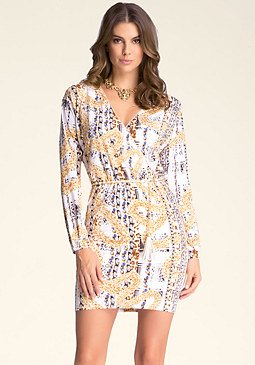 bebe Print Surplice Dress