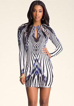 bebe Print Necklace Dress