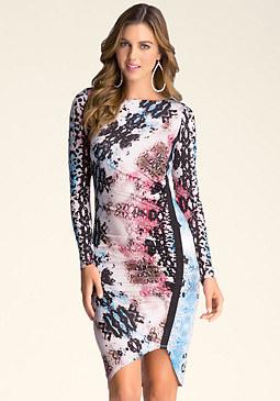 bebe Print Boatneck Dress