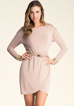 bebe Embellished Shoulder Dress