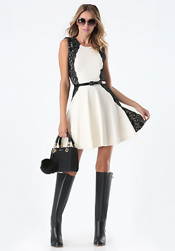 bebe Lace Fit & Flare Dress