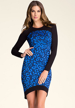 bebe Raglan Contrast Midi Dress