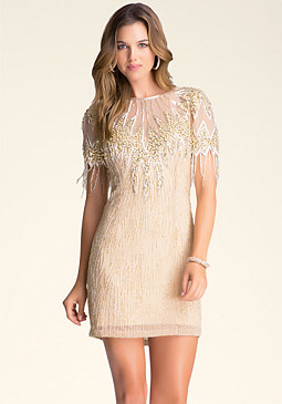 bebe Beaded Open Back Dress