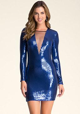 bebe Deep V-Neck Sequin Dress