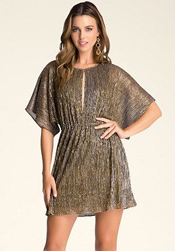 bebe Metallic Crinkle Dress