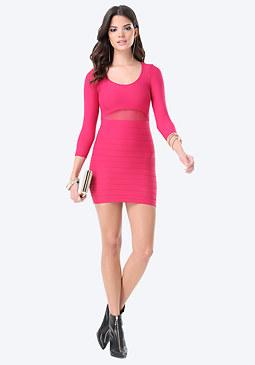 bebe Mesh Detail Dress