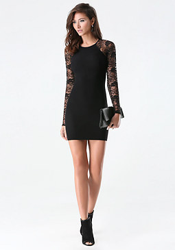 bebe Raglan Lace Sleeve Dress