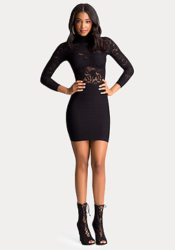 bebe Sheer Lace 2-Fer Dress