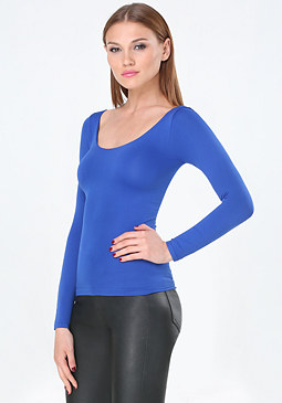 bebe Long Sleeve Scoopneck Top