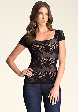 bebe Square Neck Lace Top