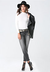 bebe Mock Neck Long Sleeve Top