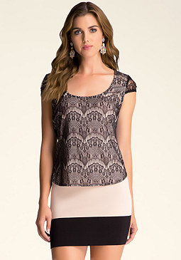 bebe Lace Cap Sleeve Top