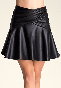 bebe Faux Leather Flounce Skirt