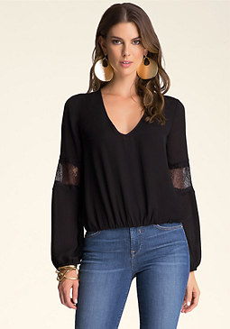 bebe Dominique Lace Trim Top ��