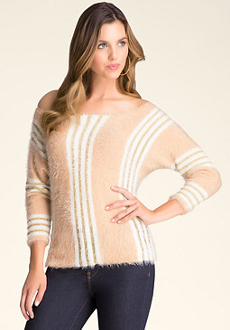 bebe Striped Boxy Sweater