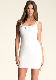 bebe Mixed Fabric Zipper Dress
