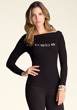 bebe Ribbed Cowl Neck Logo Top