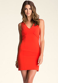 bebe Seam Detail V-Neck Dress