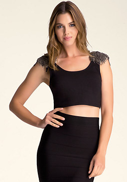 bebe Embellished Crop Top