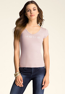 bebe Lace Back V Neck Tee