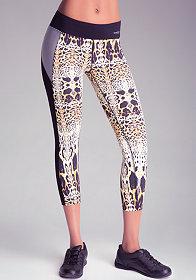 bebe Print Colorblock Crop Pants