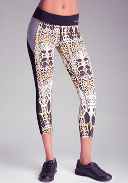 bebe Print Colorblock Crop Pants