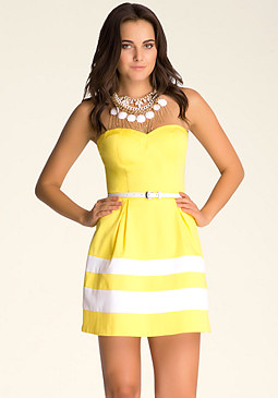 Strapless Colorblock Dress at bebe