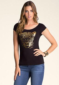 bebe Leopard Merrow Edge Tee