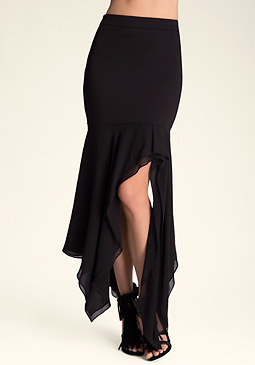 bebe Zo� Hi-Lo Mixed Media Skirt