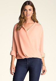bebe Roll Sleeve Wrap Front Top