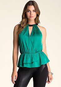 Ruffle Hem Halter Top at bebe
