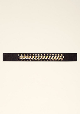 LACE & CHAIN STRETCH BELT at bebe