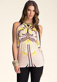 bebe Printed Embellished Tunic