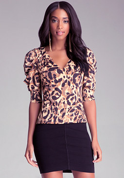 bebe Draped Print V Neck Top