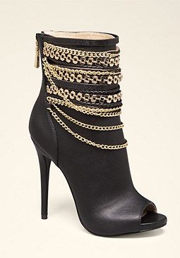 bebe Alyssa Chain Open Booties
