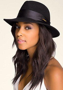 bebe Satin Trim Wool Fedora